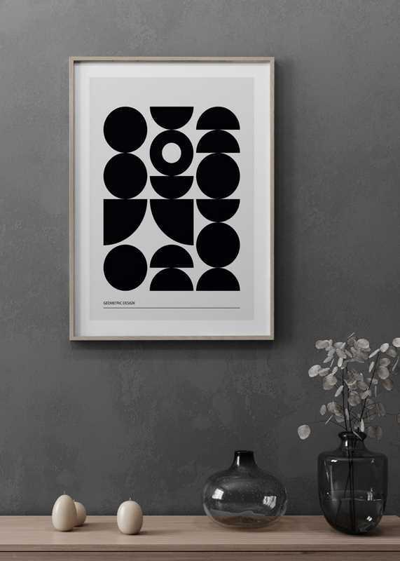 Geometric Graphic Black No1-4