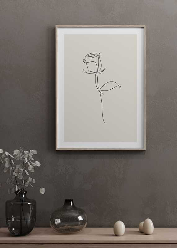 Line Art Rose-4