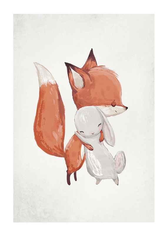Watercolor Fox And Bunny-1