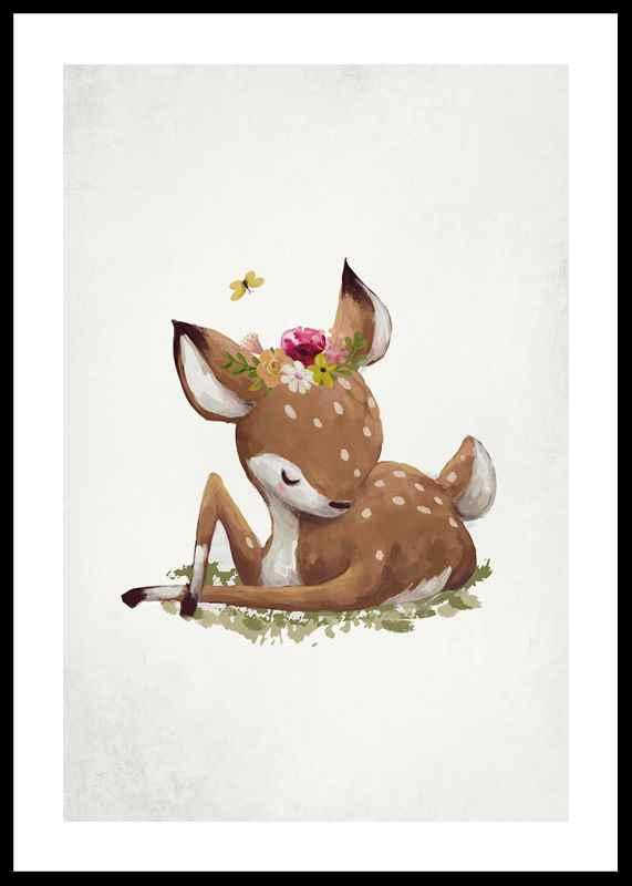 Watercolor Sleepy Deer