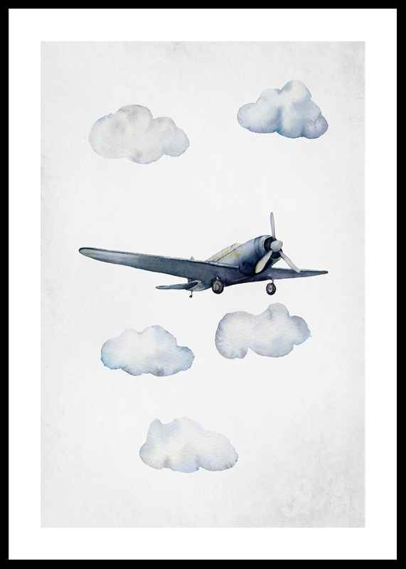 Watercolor Airplane-0