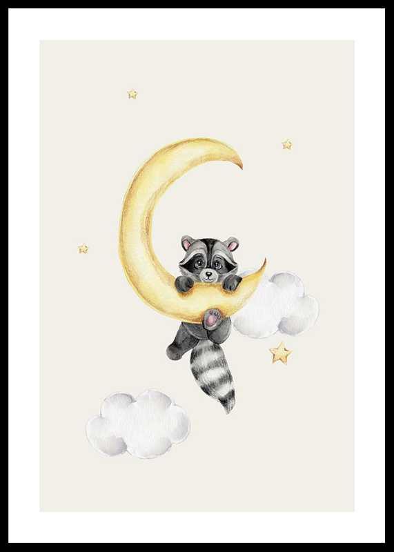 Raccoon And Moon