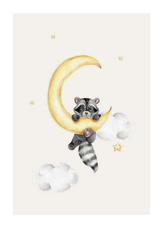 Raccoon And Moon-1